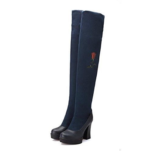 VogueZone009 Damen Gemischte Farbe Blend-Materialien Hoher Absatz Ziehen auf Stiefel Blau