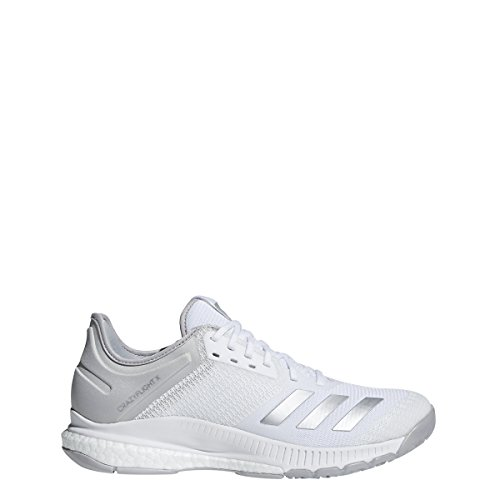 adidas Women's Crazyflight X 2 Volleyball Shoe, White/Silver Metallic/Grey, 8.5 M US