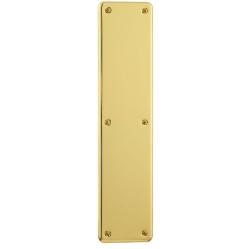 Push Plates Door Accessories (Baldwin 2110 3-1/2 Inch x 15 Inch Solid Brass Round Corner Push Plate, Polished Chrome)