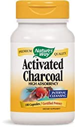 Nature\'s Way Activated Charcoal High Absorbency Supplement, 100 Count (Pack of 2)