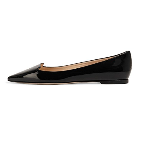 Eldof Mujeres Galala Patent-leather Point-toe Flats Oficina Fuera De Servicio Zapatos Zapatos Grosgrain Bow Zapatos Black