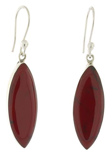 (Sterling Silver Marquise Shape Reconstituted Stone Dangling French Wire Earrings, Deep Red)