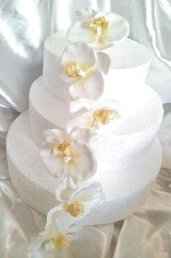 Creme Fleurs Artificielles Orchidee Decoration Pour Gateau
