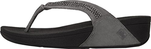 Fitflop mujeres de remolino de cristal abierto Toe Ante Gris Thong Sandal Pewter