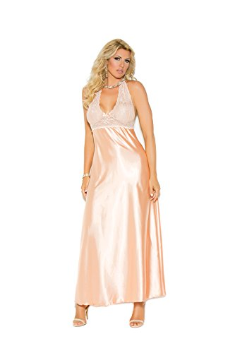 Satin Long Gown (Hot Spot Plus Size Women's Lace and Charmeuse Halter Neck Gown)