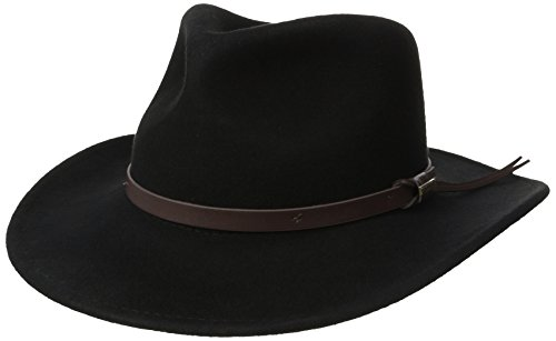 Black Crushed Leather (Woolrich Men's Crushed Felt Outback Hat, Black, X-Large)