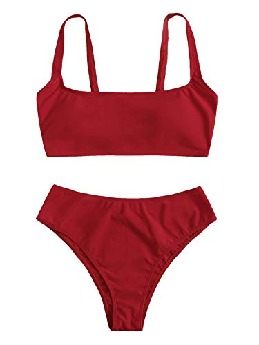 93733ccd9e SweatyRocks Women's Swimwear Set Solid Scoop Neck High Waisted Bikini  Swimsuits