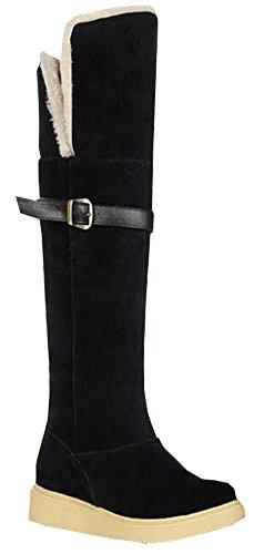 2015 Art und Weise Super dicken Schnee Stiefel Schuhe Warme Winter Frau 3 Farben der großen Größe von 35,5 bis 38,5 Über den Knie-Stiefel Schwarz