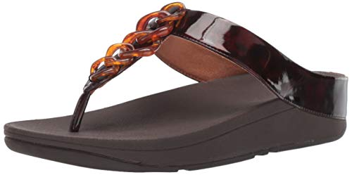 FitFlop Women's FINO Tortoiseshell Chain Flip-Flop Chocolate Brown Turtle 6 M US