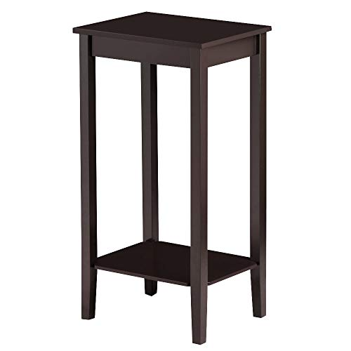 Topeakmart Wood Coffee Table Tall Bedside Nightstand Bedroom Living Room Sofa Side End Table Furniture, Espresso Bedroom Living Room Sofa