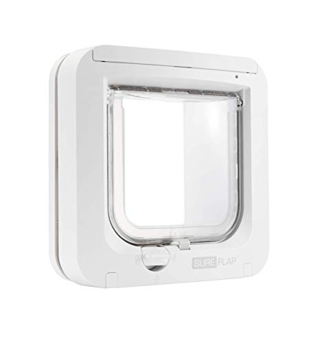 SureFlap - Sure Petcare Microchip Cat Flap, White, Scans Pet's ID Microchip on Entry (Renewed)