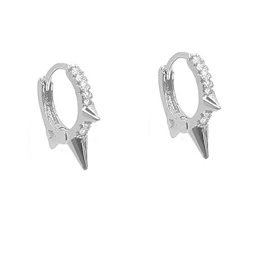 Punk Spikes Studed Mini CZ Hoop Earrings for Women Teen Girls Men S925 Sterling Silver Charms Huggie Hoops Cartilage Stud Tragus Helix Pave Crystal Earrings Rock Fashion Jewelry Gifts (silver)
