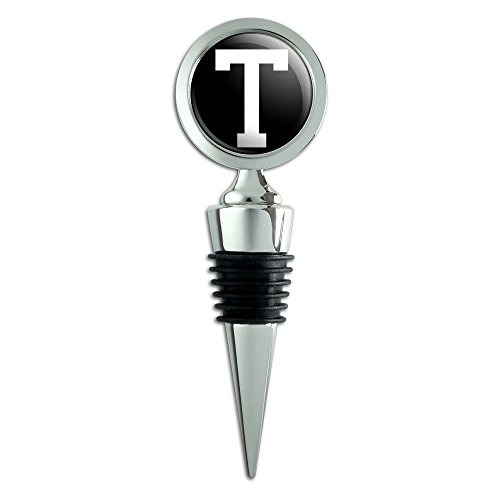 Letter T Initial Black White Wine Bottle Stopper ()