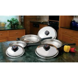 (Precise Heat 6pc Stainless Steel Skillet Set with Steam Control)
