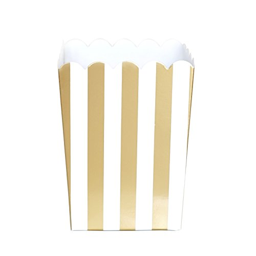 - Mini Gold Foil Stripes Birthday Wedding Bridal Shower Chic Party Popcorn Treat Favor Boxes (10 Count)