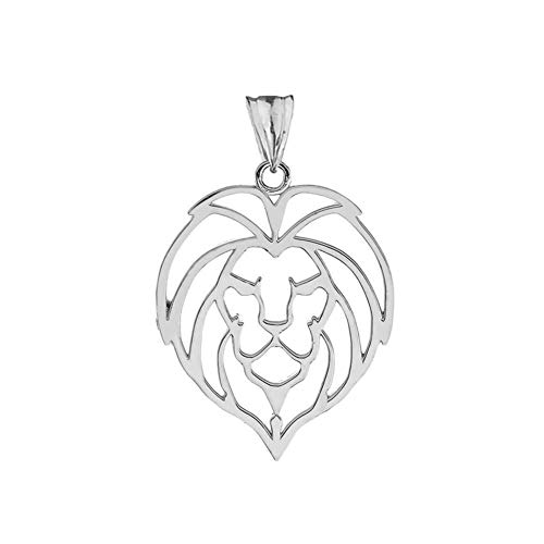 (Fine Sterling Silver Lion Head Outline Charm Pendant)