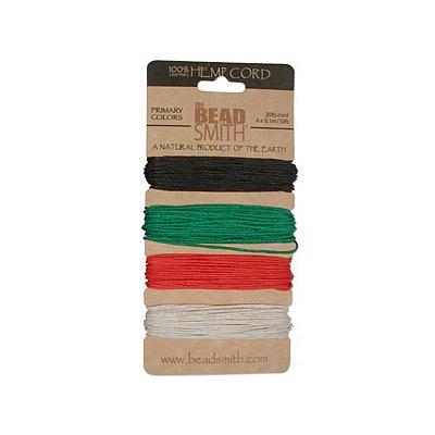 Beadsmith Natural Hemp Twine Bead Cord 1mm Four Color Christmas Variety Pack - 30 Feet - Beadsmith Hemp