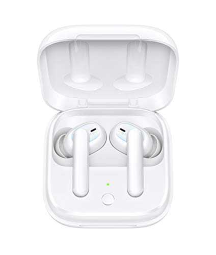 OPPO Enco W51 Bluetooth Wireless Earphones with Mic, Support (ANC) Hybrid Active Noise Cancellation (up-to-35dB), 24H Battery Life, IP54 Dust & Water Resistant, Supports Android and iOS(White)