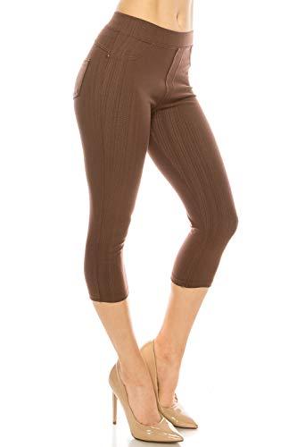 ShyCloset Basic Skinny Jeggings Pants - Skinny Slim Fit Jean Stretch Leggings (Regular/Plus Size) (ONE, Capri - Brown)
