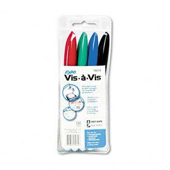 EXPO® Vis-à-Vis® Wet Erase Overhead Projection Marker MARKER,VISAVIS,FINE,4/SET (Pack of20)