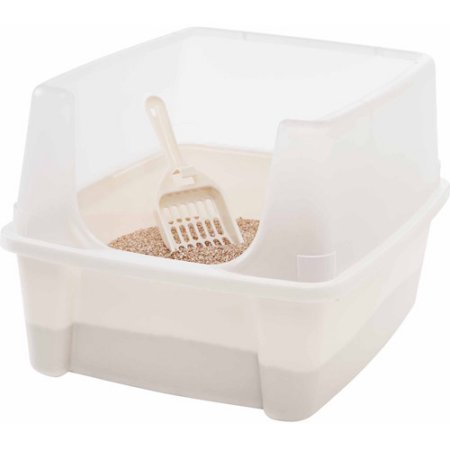 IRIS Open-Top Cat Litter Box with Clear High-Shield without Scoop, White