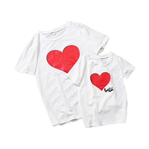 (Mommy and Me Shirts Love Heart Printed Short Sleeve T-Shirt Tops Blouse Mother Daughter Matching Clothes Outfits )