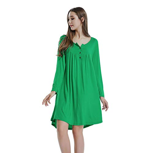33cea49c2b7 Amazon.com  HULKAY Women s Long Sleeve Mini Dress O Neck Button Loose Above  Knee Dresses  Clothing