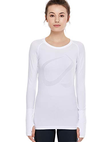 CRZ YOGA Women's Seamless Athletic Long Sleeves Sports Running Shirt Form Fitting Workout Top White-Slim Fit S(4/6)