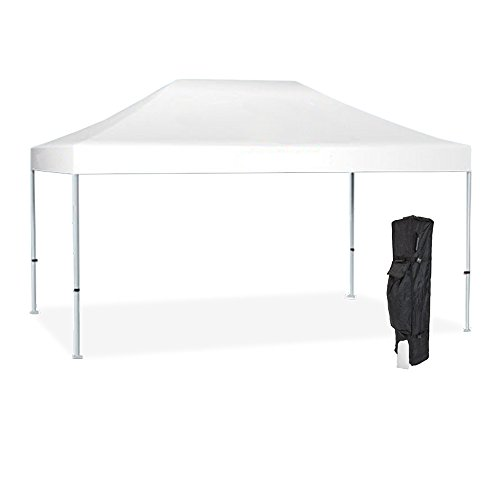 Vispronet Strong Instant 10ft x 15ft White Canopy Tent Kit - Pop Up Tent - Steel Hex Frame - Water-Resistant 450D Canopy with Roller Bag and Stakes