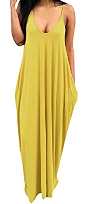 Bigyonger Women's Loose Low V Neckline Spaghetti Straps Maxi Dress Beach Wear