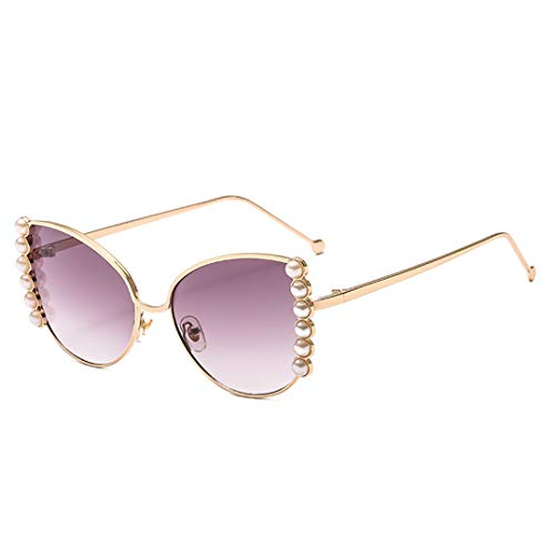 (Naimo Sparkling Pearl Oversized Sunglasses UV Protection Metal Gold Frame)
