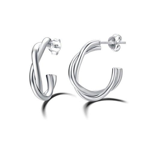 (Carleen 925 Sterling Silver Twisted Hoop Earrings Dainty Fine Jewelry Twist Hoops for Women Girls)