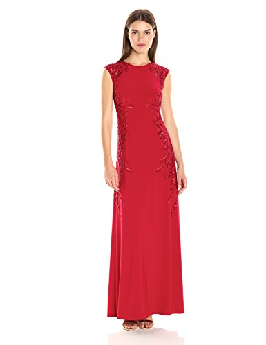 Sleeve Gown Jersey (Adrianna Papell Women's Cap Sleeve Jersey Gown with Beading Detail, Cardinal, 2)