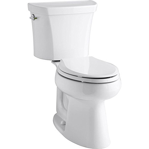 KOHLER K-3989-0 Wellworth Highline Two-Piece Dual-Flush Elongated Toilet with Class Five Flush System and Left-Hand Trip Lever, - 4199 0
