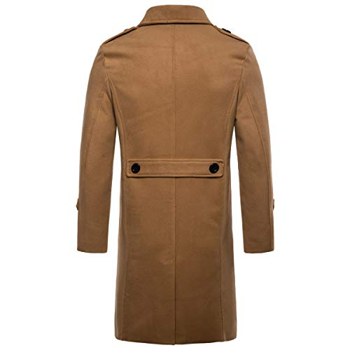 AOWOFS Men's Mid Long Wool Blend Pea Coat Single Breasted Overcoat Winter Trench Coat