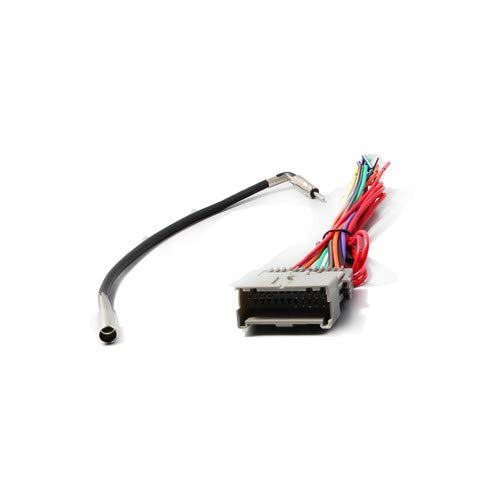 REDWOLF Aftermarket Stereo Radio Wiring Harness for GM Chevy GMC Buick 1998-2008&GM-10 Antenna Adapter Plug Mount On Factory Head Unit