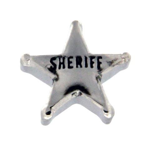 Sheriff's Badge Floating Locket Charm (Charm Sheriffs Badge)
