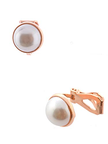 (Topwholesalejewel Fashion Earrings Rose Gold Plating Faux Dome Pearl Clip On Earrings)