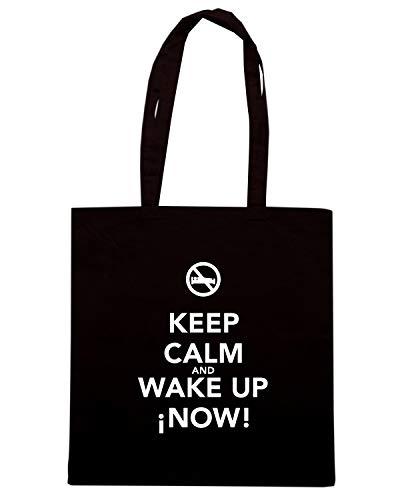 Borsa Shopper Nera TKC1570 KEEP CALM AND WAKE UP NOW