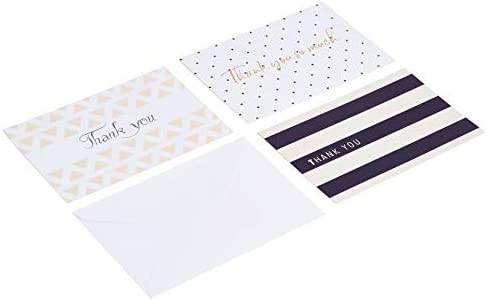 Amazon Basics Thank You Cards, Polka Dot and Stripe, 48 Cards and Envelopes