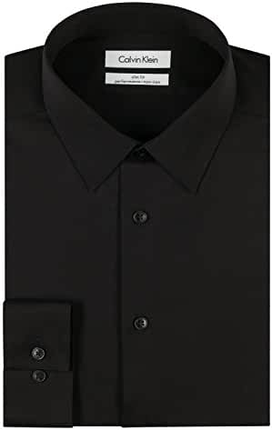Calvin Klein Men's Slim Fit Non-Iron Herringbone Point Collar Dress Shirt