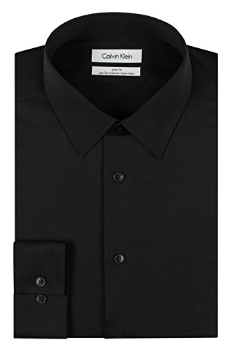 Calvin Klein Men's Dress Shirt Slim Fit Non Iron Herringbone, Black, 16