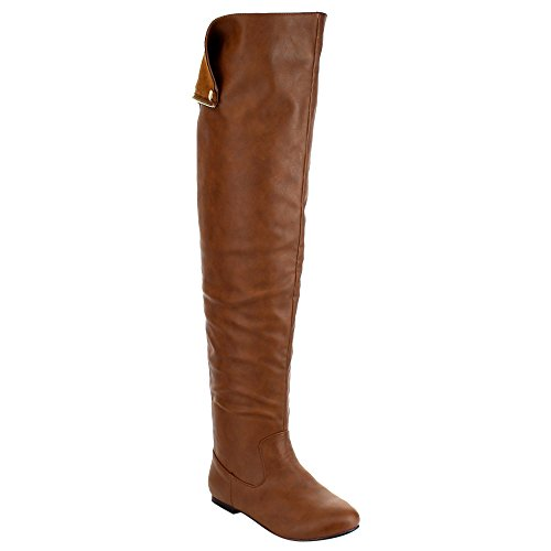 Women Size The Small FE61 Knee Half Flat Heel Over Cuff Boots Snap BREEZE NATURE Tan 7EwqRY