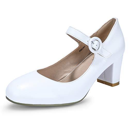 IDIFU Women's RO2 Candy Round Toe Buckle Strap Mary Jane Shoes Medium Block Heel Pumps (White Pu, 8.5 M US) ()