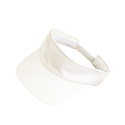 Golf Leather Visor - Opromo Visor Sun Plain Hat Faux Leather Sport Cap Golf Tennis Adjustable Cap-White