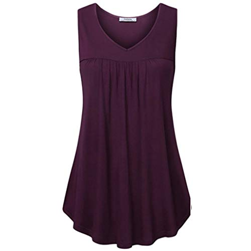 (Womens Tops Summer Sleeveless Shirts Pleats Tunic Blouse Solid Tank Vest Polos)