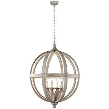 This Item Y Decor LZ3225 4 Modern, Transitional, Traditional 4 Light Wood Orb  Chandelier By Y Décor, Antique, Wood