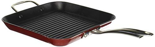 (Cuisinart CIL30-20HRN Castlite Non-Stick Cast Iron Square Grill Pan with Helper, 11