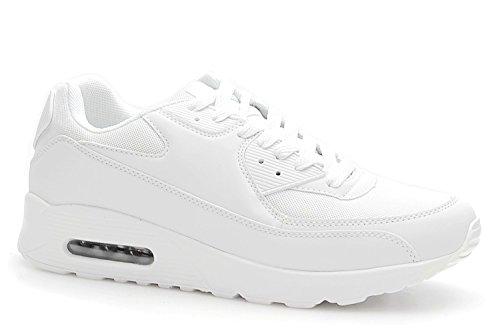 King Of Shoes Trendige Damen Schnür Sneakers Laufschuhe Sport Fitness Freizeit Turnschuhe D9 Weiß 2