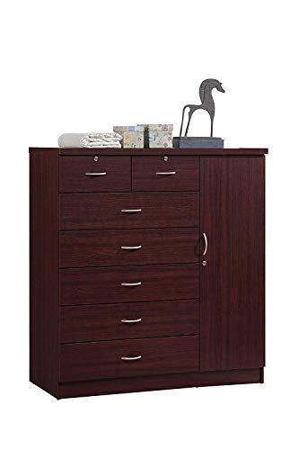 Manufactured Wood 7 Drawer Dresser - Contemporary Chest of Drawers Clother Storage Cabinet - Bedroom Large Dressing Organizer - Traditional Style Cabinet (Mahogany)